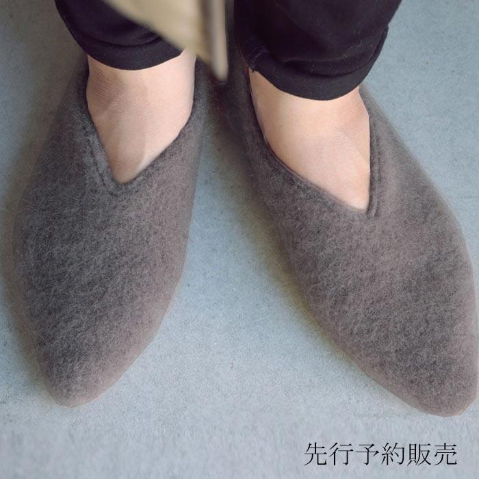 【予約:12月上〜中旬納期】モヘアフラットシューズ パンプス 痛くない 歩きやすい 靴・11月15日0時〜メール便不可